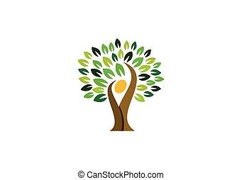 národ, blbeček, druh, wellness, emblém, znak, emblém, design, zdraví, strom, ikona, vektor