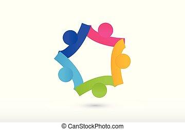 národ, kolaborace, mužstvo, porce, sevření dílo, emblém