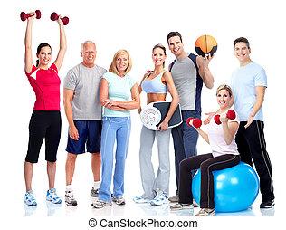 národ., tělocvična, fitness., usmívaní