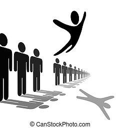 národ, znak, soars, osoba, skákat, přes, řádka, aut