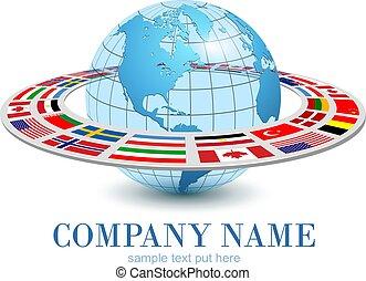 národnostní, hlína, 3, oběžnice, dynamický, kruhová dráha, koule, emblém, vlaječka