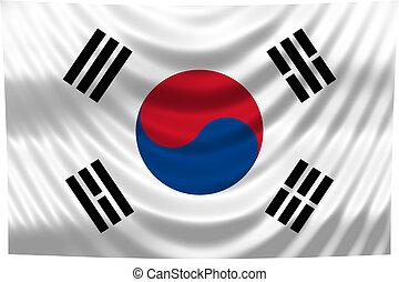 národnostní, korea, prapor, jih