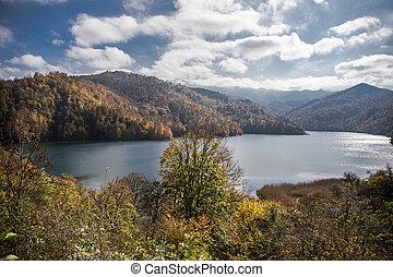názor, barvitý, ganja, jezero, hora., bezvětrný, goy-gol, ohromení, azerbaijan., večer, (blue, krajina, podzim, les, lake)