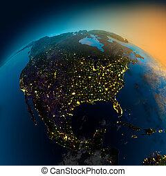 názor, satelit, amerika, sever, večer