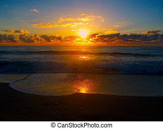 nadšený, východ slunce