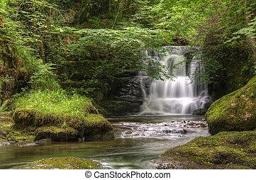 nad, bujný, dějiště, dlouho, rozmazaný, led, lišejník, mladický les, mech, plynulý, vodopád, pokrytý, skrz, odhalení