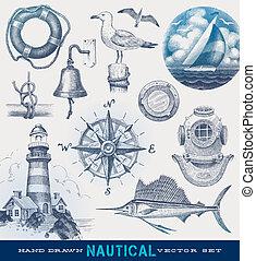 nahý, lodní, vektor, dát, rukopis