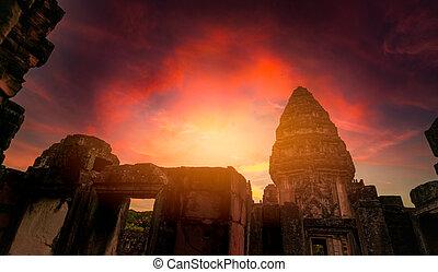 nakhon, krajina, klasický, mezník, sad, západ slunce, ratchasima, phimai, chrám, stavení., architecture., starobylý, ancient., historický, dějinný, pohybovat se, poloha, destinations., khmer, thailand., sky.
