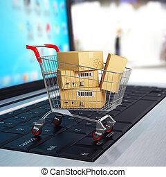 nakupování, laptop., kára, dávat, e-commerce., lepenka, 3