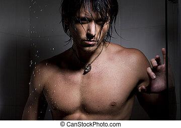 namočit, portrét, voják, kouzlo, proudy vody