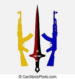 napadnout puška, meč, dva