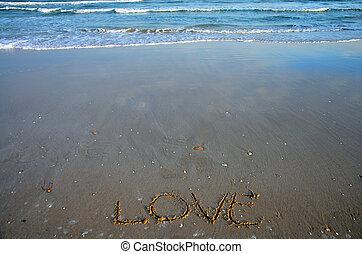 napsat, vzkaz, pláž, láska