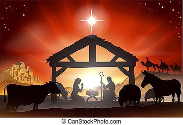 narození, vánoce výjev