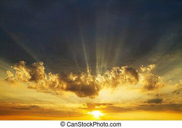 nebe, východ slunce