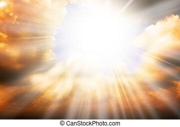 Nebeská víra, sluneční paprsky a nebe