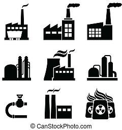 nechat na holičkách, stavení, průmyslový, mocnina, továrna