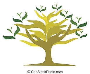 nechráněný, strom, ruce