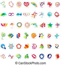 neobvyklý, 48, barvitý, vektor, 5), icons:, (set