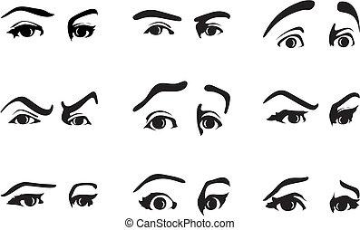 neobvyklý, oko, ilustrace, vektor, emotions., vylisovat, vyjádření