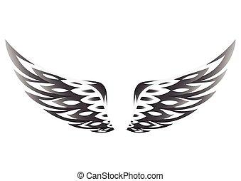 neposkvrněný, čerň, křídla, grafické pozadí