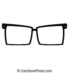 neposkvrněný, brýle, grafické pozadí, ikona