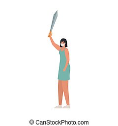 neposkvrněný, jeden, šedivý, manželka, withone, meč, bezpečnost, grafické pozadí, maskovat