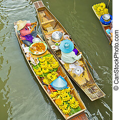 nestálý, damnoen, bangkok, thajsko, saduak, obchod