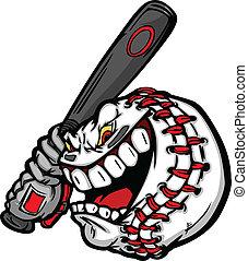 netopýr, podoba, čelit, vektor, baseball, houpavý, karikatura