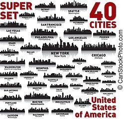 neuvěřitelný, postavení, sjednocený, set., městská silueta, město, america.