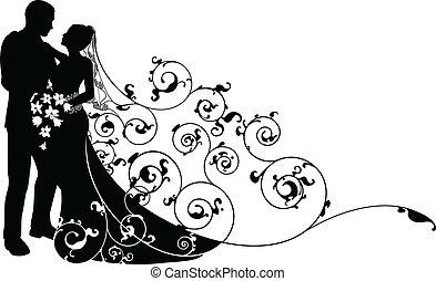 Nevěsta a ženichův vzor silueta