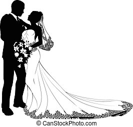 Nevěsta a ženich sihouette