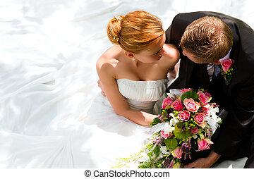 nevěsta, dvojice, čeledín, -, svatba