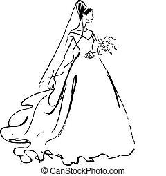nevěsta, kreslení
