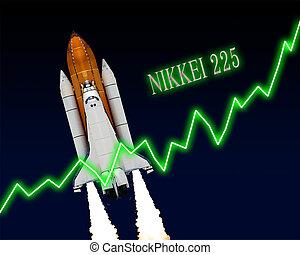 nikkei, 225, graf, index