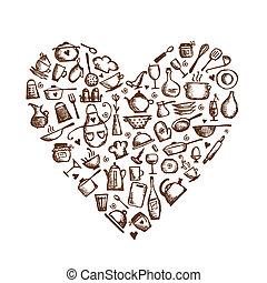 nitro, láska, skica, cooking!, kuchyňská potřeba, forma, design, tvůj, kuchyně