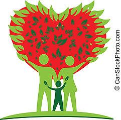 nitro, láska, strom, emblém, rodina