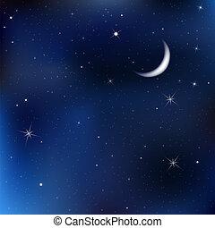 Noční obloha s měsícem a hvězdami