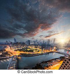 Noční výhled na Shangaii