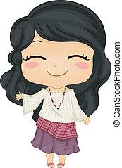 nosení, maličký, filipina, národnostní, kostým, děvče, kimona
