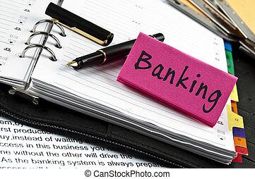 nota, bankovnictví, pero, diář