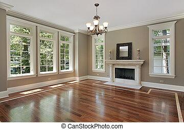 Obývací pokoj v novém stavebním domě