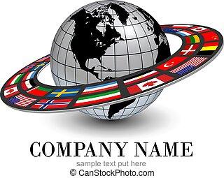 oběžnice, koule, dynamický, národnostní, kruhová dráha, vlaječka, 3, emblém, hlína
