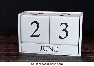 Obchodní kalendář na 23. den měsíce. Plánovač plánů nebo plánování plánu.