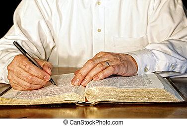 Obchodník studuje Bibli