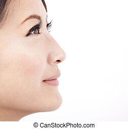 Oblíbená tvář krásné ženy izolované na bílém pozadí