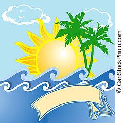 obrazný, emblém, prázdniny, moře