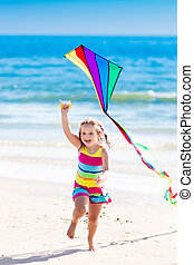obrazný, let, pláž, luňák, dítě