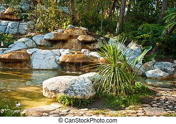 obrazný, vodopád, malý, rybník, názor, krajina, design.
