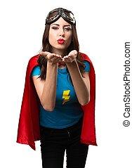 odesílání, děvče, superhero, polibek, dosti