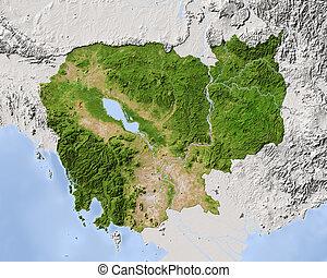 odstín, map., kambodža, podpora